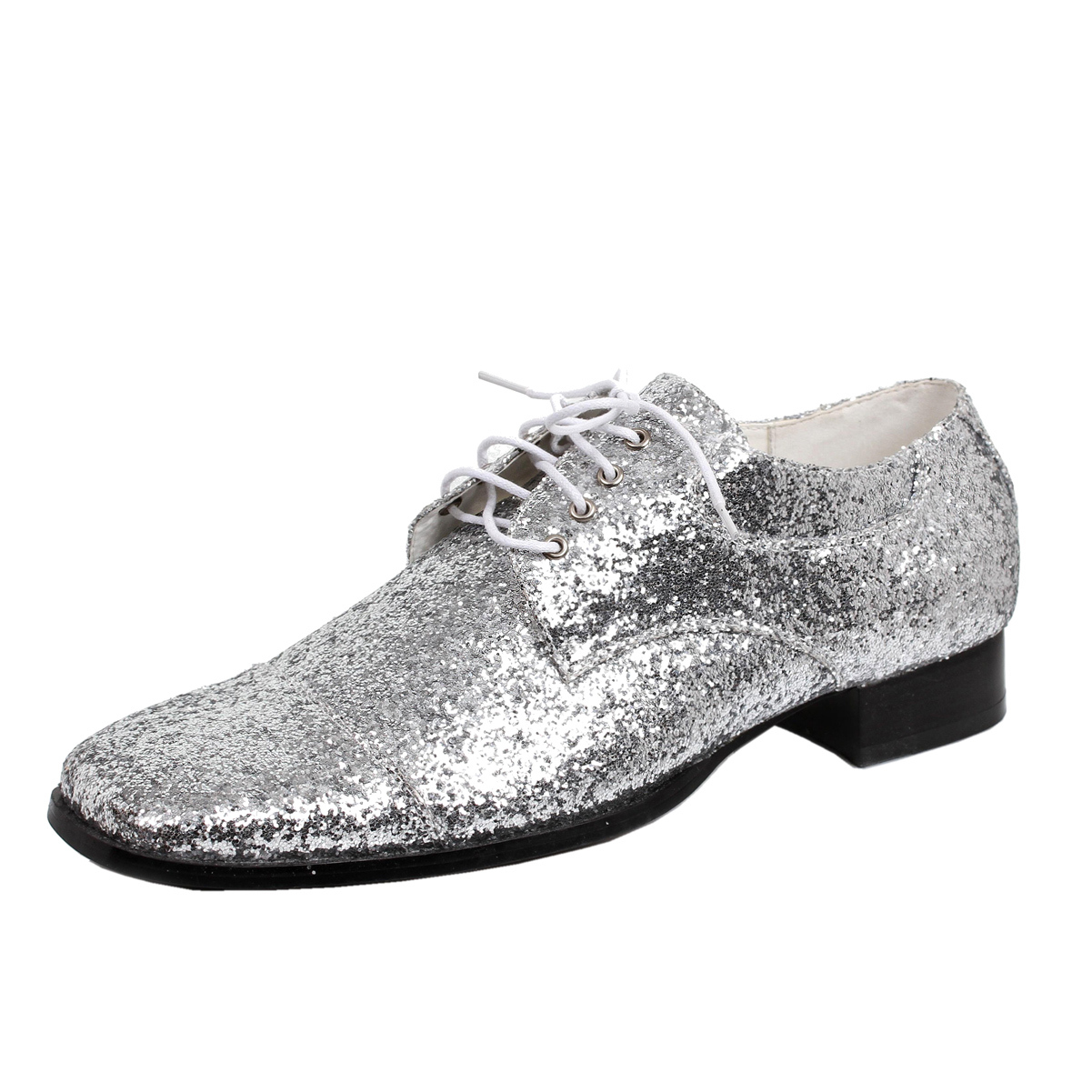 Mens Oxford Dress Shoes Silver Glitter