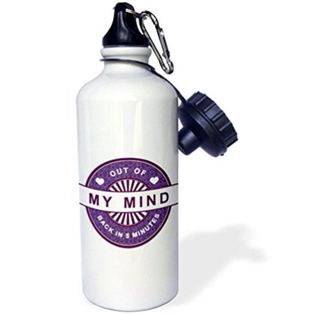 3dRose Funny Saying - Out Of My Mind Back In 5 Minutes - In Purple, Sports Water Bottle, 21oz