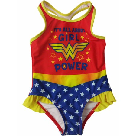 Infant Toddler Girls Red Yellow Wonder Woman Girl Power 1 Piece Swimming Suit