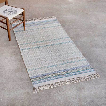(Madeline Block Print Cotton Rug with Recycled Silk Yarn Embroidery, 3' x 5')