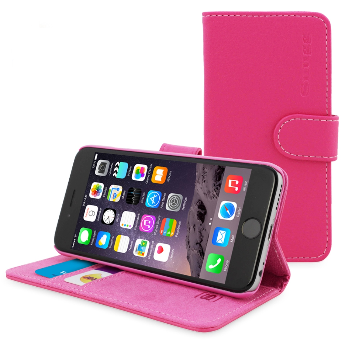 Snugg Hot Pink Leather iPhone 6 Flip Case - Wallet Case w/ Card Slots & Stand