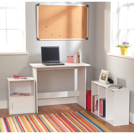 Soho 3 Piece Office Collection with Desk, Bookcase and Storage Cube, White Finish