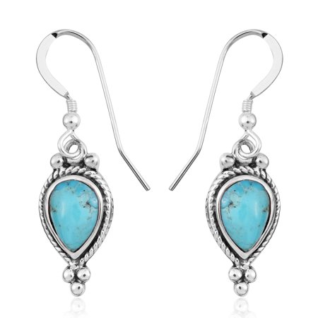 - 925 Sterling Silver Pear Kingsman Turquoise Drop Dangle Earrings for Women Jewelry Gift