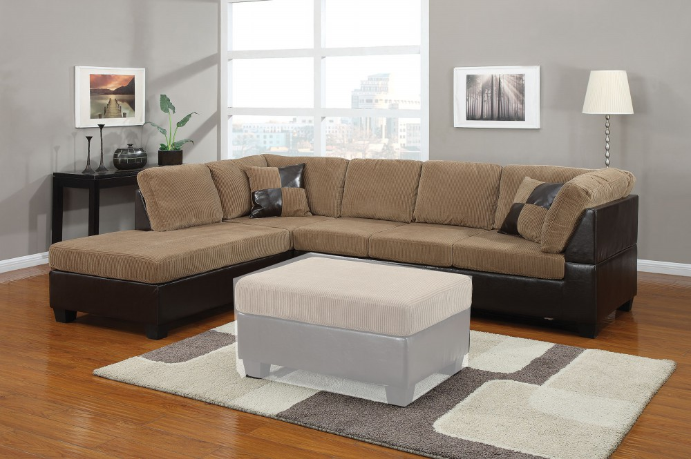 1PerfectChoice Connell Light Brown PU Sectional Sofa with Left Chaise by 1PerfectChoice