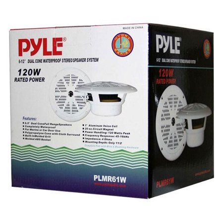 "Pyle 6.5"" White Waterproof Marine Speaker - image 3 de 5"