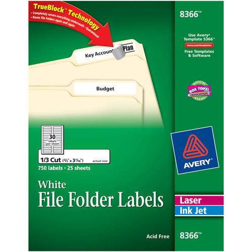 "Avery 750-Pack White 2/3"" x 3-7/16"" File Folder Labels with TrueBlock Technology"