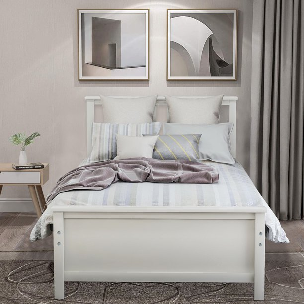 Twin Bed Frames For Kids Uhomepro Heavy Duty Wood Twin Platform Bed Frame With Headboard Footboard Great For Boys Girls No Box Spring Needed Modern Bedroom Furniture White W7388 Walmart Com