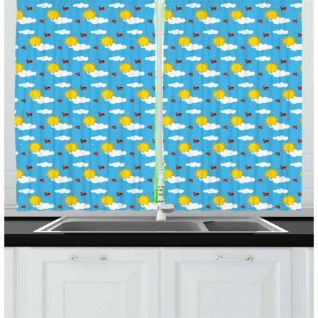 - Kids Curtains 2 Panels Set, Sky Cartoon with Fluffy Clouds Sun Cute Ladybugs Flying Childish Summer Inspirations, Window Drapes for Living Room Bedroom, 55W X 39L Inches, Multicolor, by Ambesonne