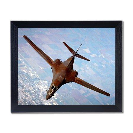 B-1B Heavy Bomber Airplane Jet Wall Picture Black Framed Art Print ()