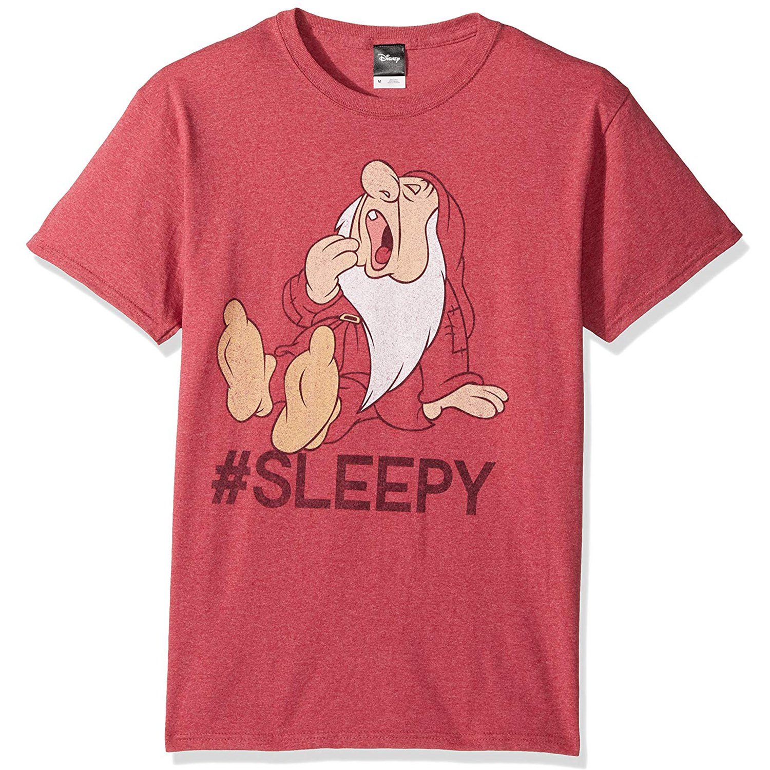 Disney Official Mens Snow White and Seven Dwarfs Hashtag Sleepy Graphic T-Shirt