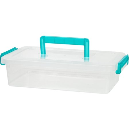 IRIS Medium Modular Latching Box with Blue Handle, Clear (Clear Boxes)