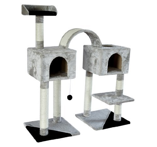 "Pawhut 46"" Cat Tree Two Condo Post Scratcher Tower - Gray with Black"