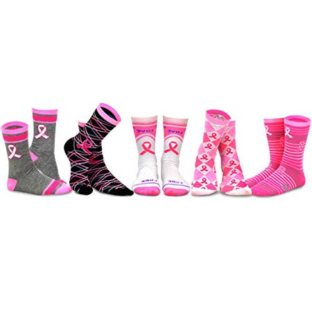 TeeHee Women Breast Cancer Awareness Cotton Crew Socks 5 Pair Pack - Breast Cancer Socks Bulk