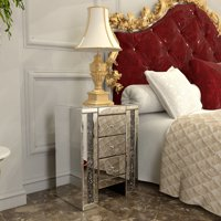 Jaxpety Mirrored Nightstand 3 Drawer Crystal Beaded Silver Bedside Table