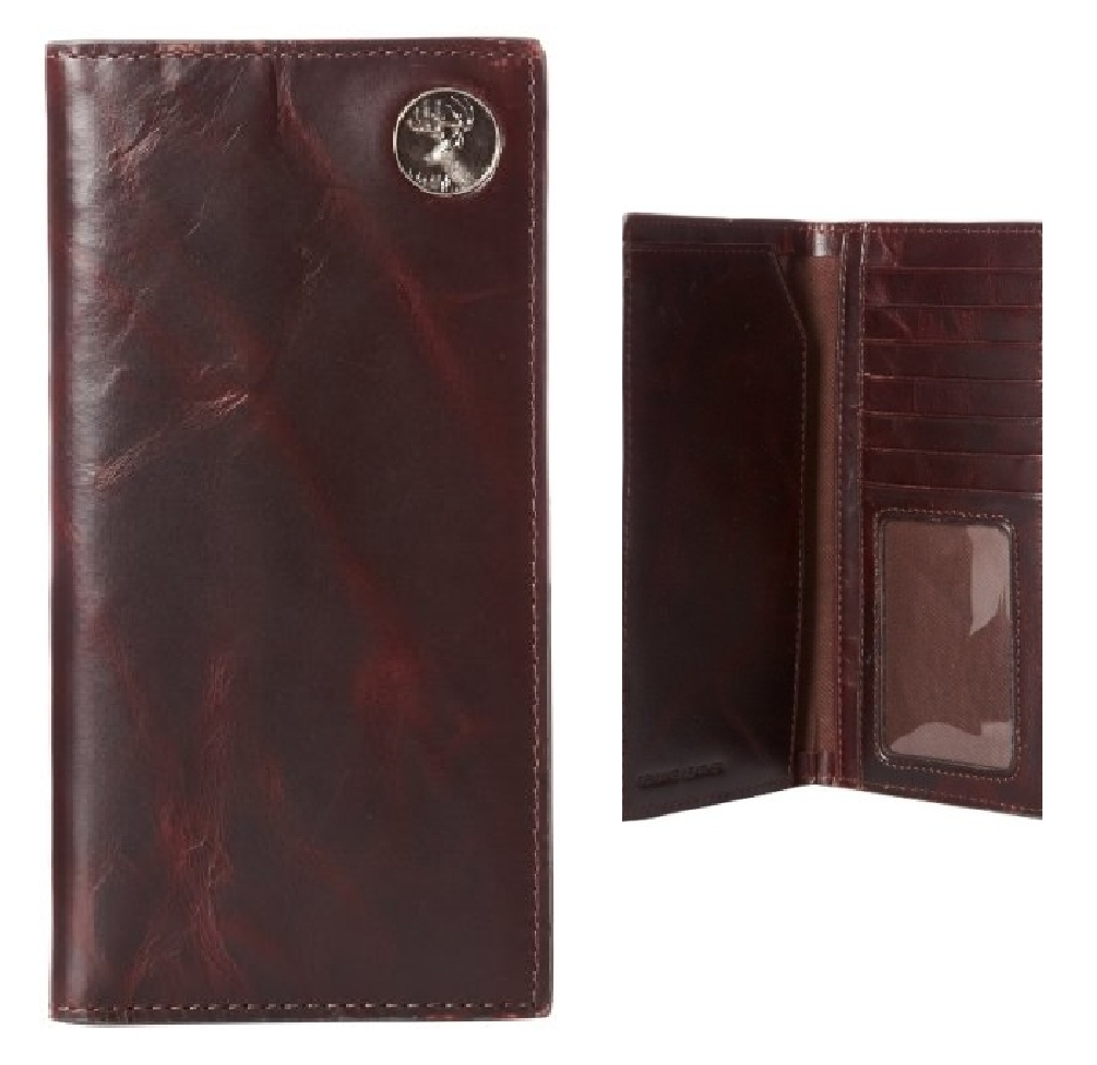 Premium Leather Men's Chocolate Brown Pocket Secretary Wallet with Buck Concho