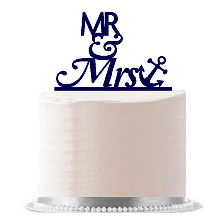 Mr & Mrs Nautical Anchor Navy Birthday Party Elegant Cake Decoration - Mrs Cake