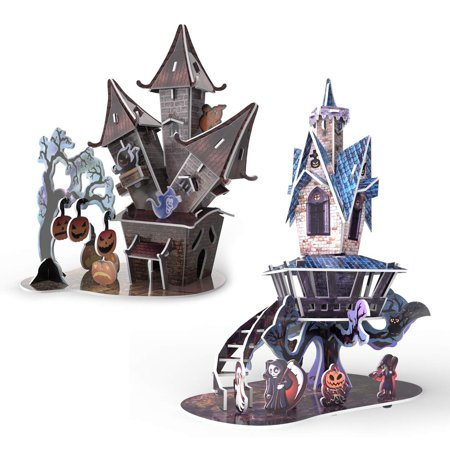 3D Paper Jigsaw Puzzles in 2 Styles- 89 Pieces for Kids Halloween Party Supplies, Game Prizes, Indoor Decorations,Gifts and More (Halloween Games For Outside)