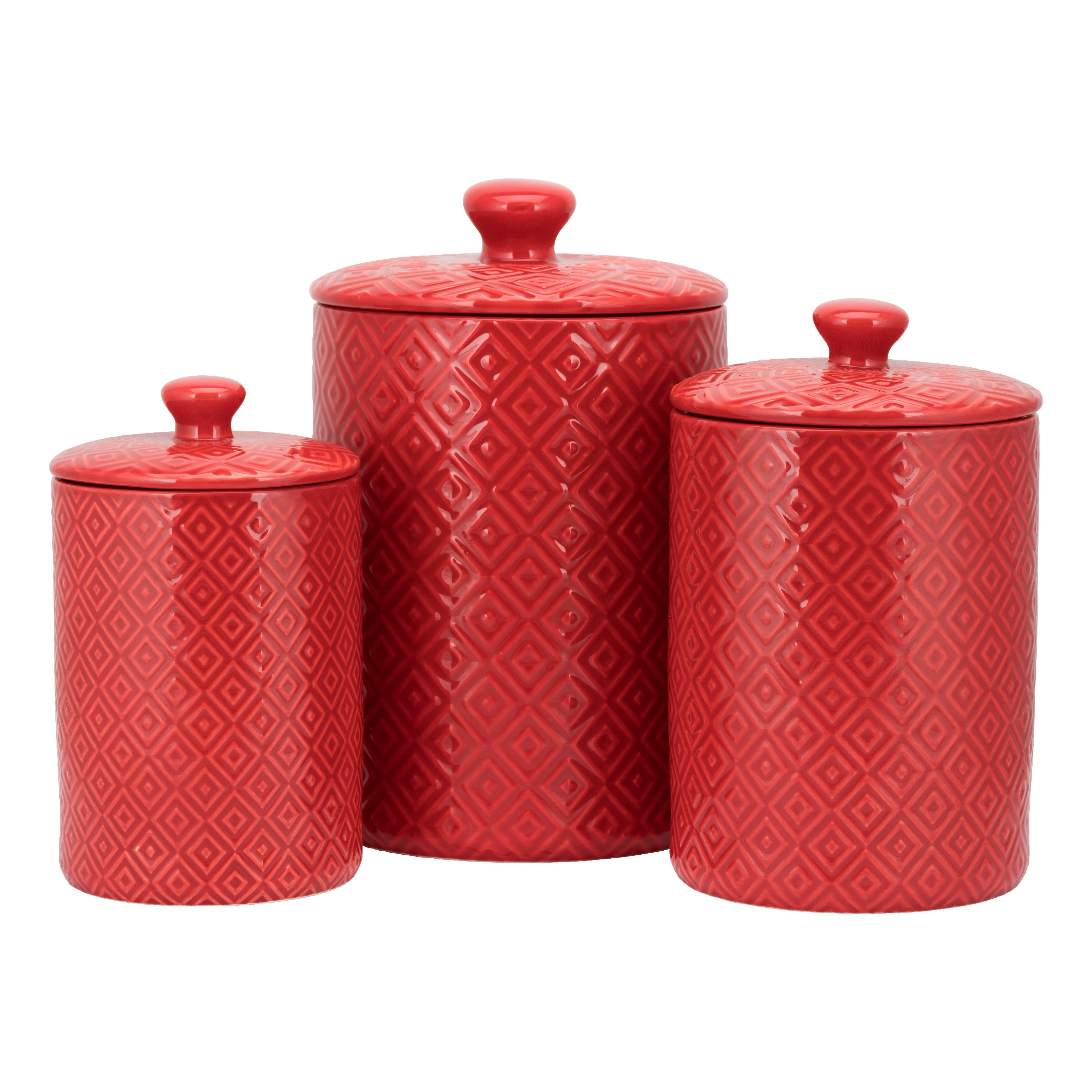 10 Strawberry Street Diamond 3 Piece Canister Set, Red