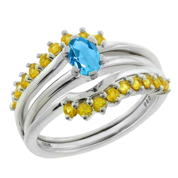1.70 Ct Swiss Blue Topaz Yellow Sapphire 925 Sterling Silver Ring Guard Enhancer