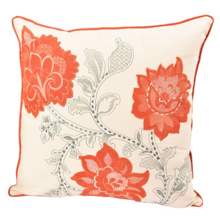 Home Accent Pillows Embroidered Applique Whimsical Orange Poly Linen Floral Throw Pillowby