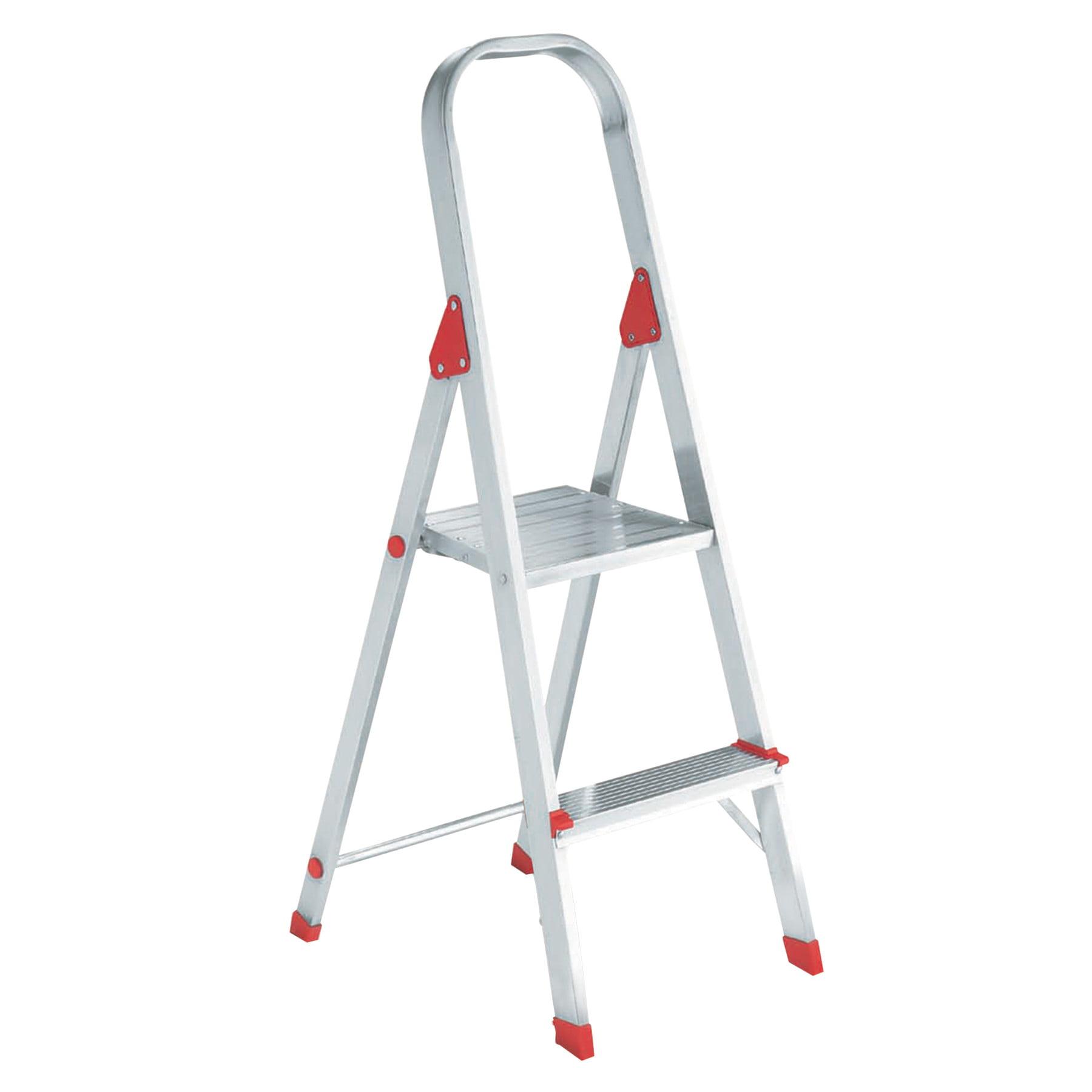 Louisville #566 Folding Aluminum Euro Platform Ladder, 2-Step, Red