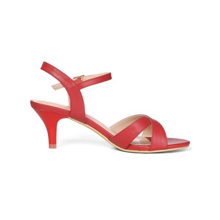 827b4cbf6195 Unique Bargains Women s Cross Straps Ankle Strap Kitten Heeled Sandals Red  (Size 8.5) ...