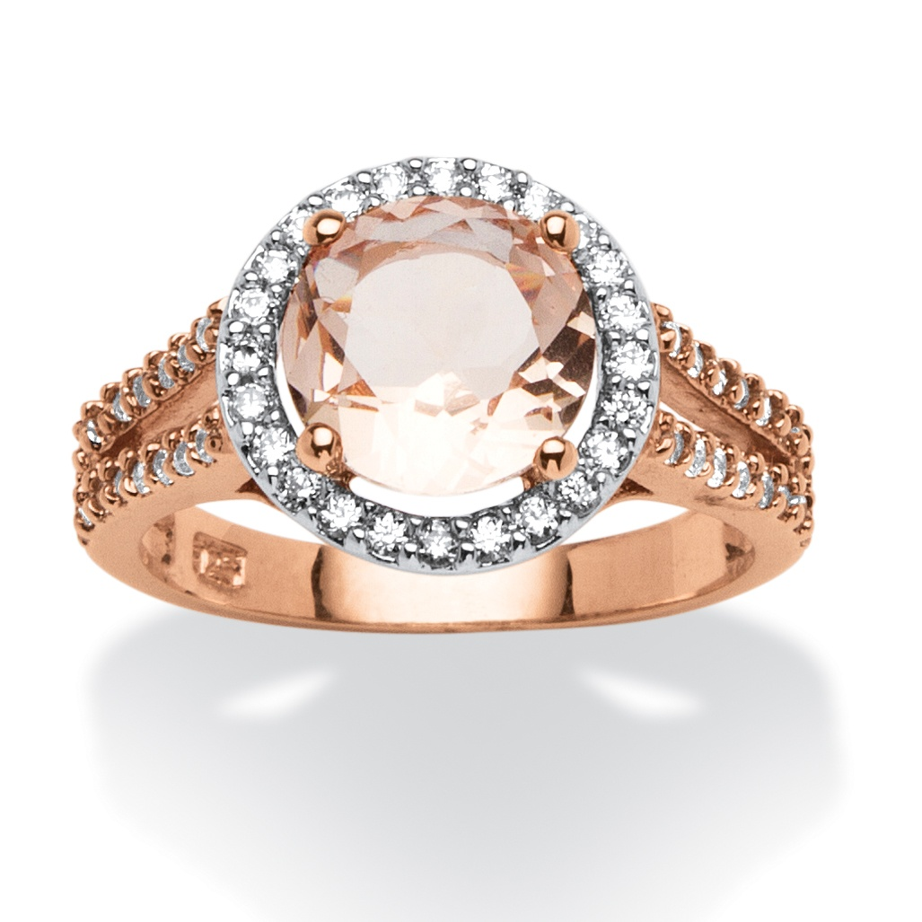 Round Morganite and .50 TCW Cubic Zirconia Halo Ring in Rose Gold over Sterling Silver