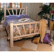 """76"""" Handcrafted Cedar Log Style Wooden Sunrise Double Bed Frame"""