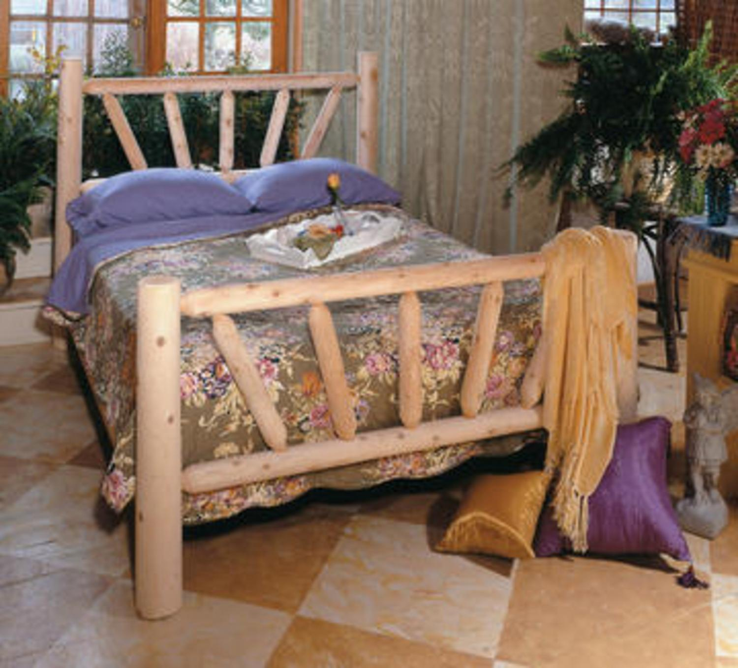 "76"" Handcrafted Cedar Log Style Wooden Sunrise Double Bed Frame"
