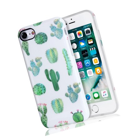 Cactus Bits - Cactus iPhone 7 Case, iPhone 8 Case, White Green Best Protective Cute Women G...