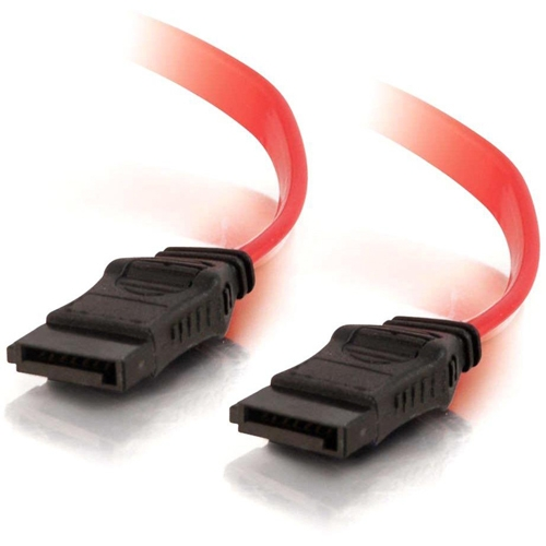 "C2G 6in 7-pin 180�� 1-Device Serial ATA Cable - SATA - 6"" - 1 x Female SATA - 1 x Female SATA - Red"
