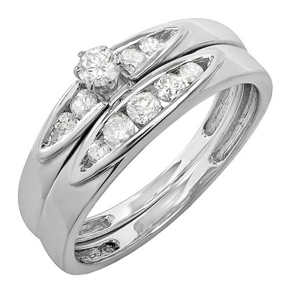 0.50 Carat (ctw) Sterling Silver Round White Diamond Bridal Ring Set Anniversary Wedding Band 1/2 CT