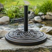 Manor Park Circle Weave Round Outdoor Patio Umbrella Base, Antique Bronze