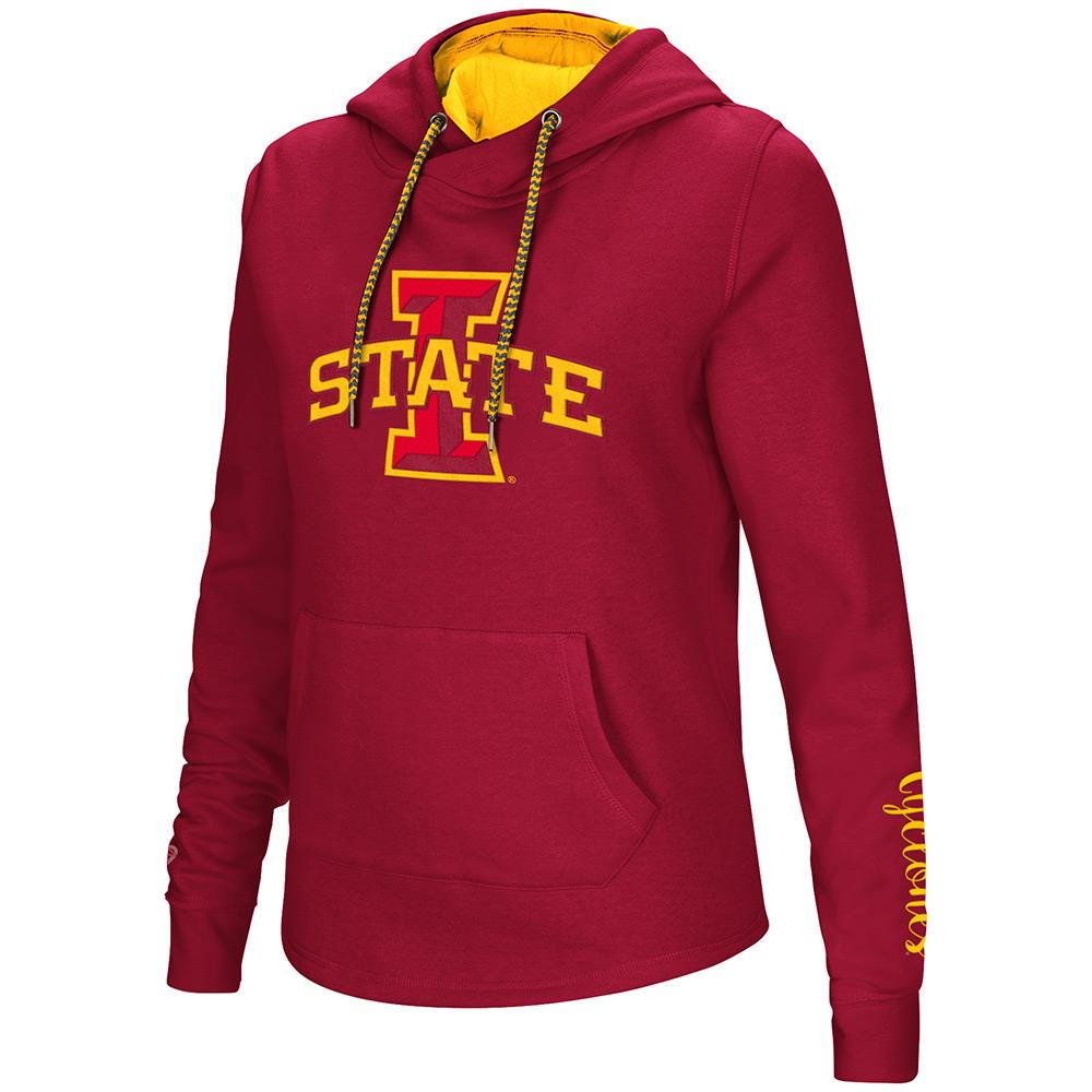 Womens NCAA Iowa State Cyclones Crossover Neck Hoodie (Team Color)