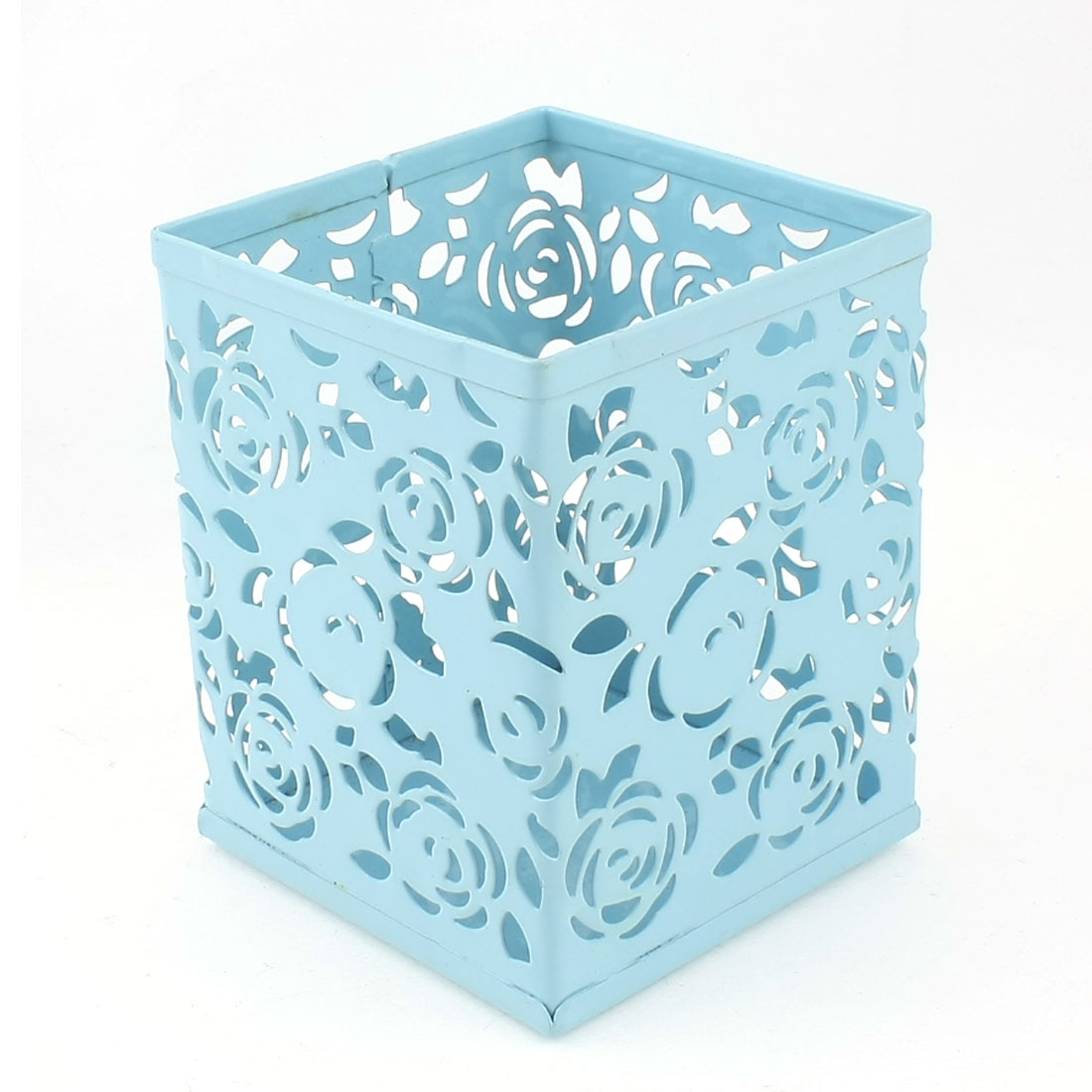 Blue Metal Hollow Out Flowers Pattern Pencil Pen Holder Container