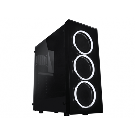 Raidmax NEON Gaming Computer Case See-Through Front and Side Panel with 3 White LED Front Fans
