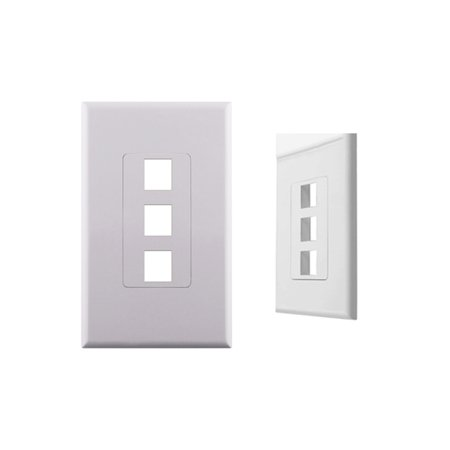 Decora Screwless Wall Plate Insert (White 1-Gang Screwless Decora Wall Plate Cover with 3-Port Keystone Jack Insert )