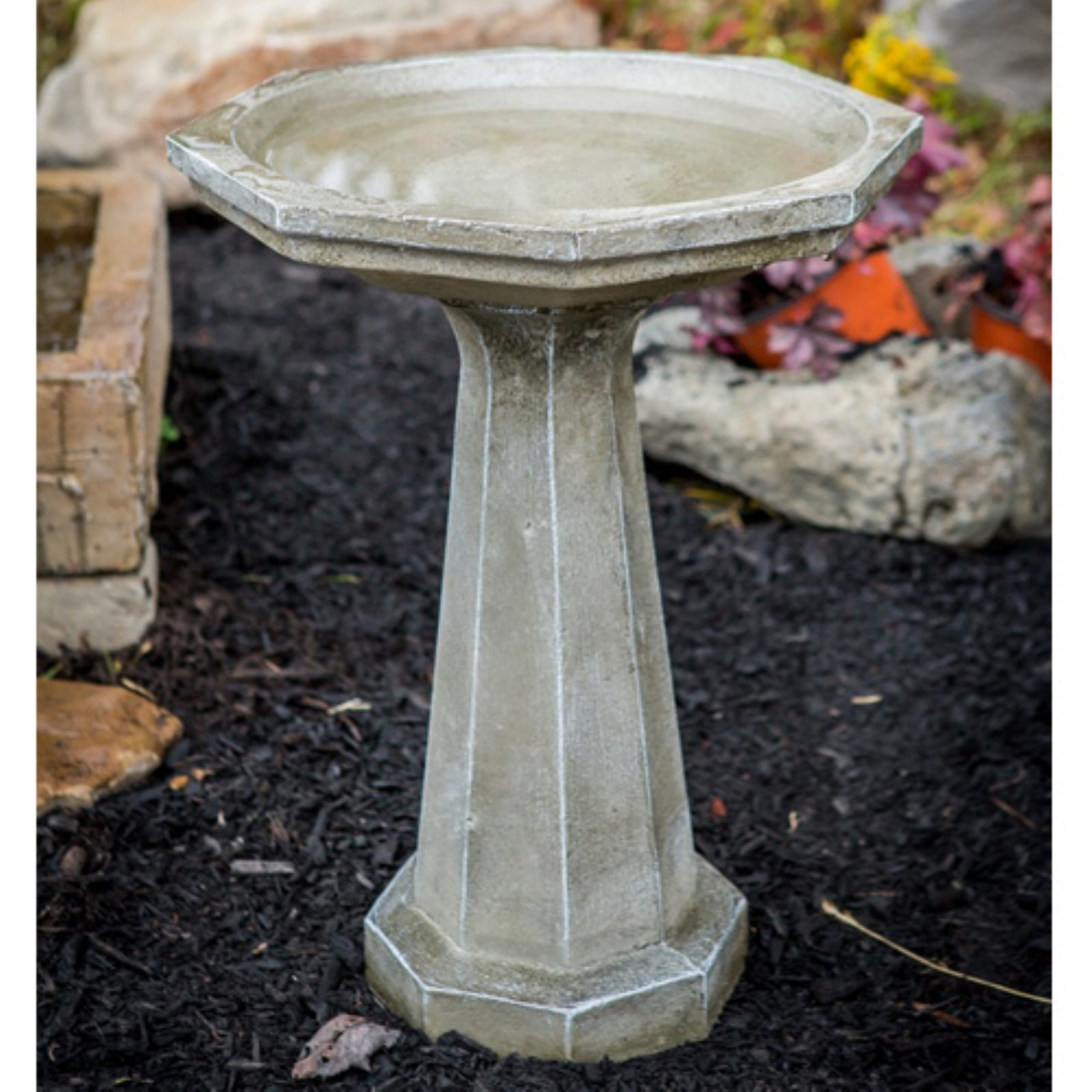 Athena Garden Cast Stone Large Octagon Birdbath by Athena Garden Inc