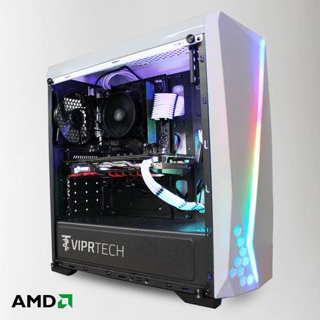 ViprTech Gaming PC Computer Desktop - AMD Ryzen 5 1600, AMD RX 580 4GB, 8GB DDR4 RAM, 1TB HDD, VR-Ready, RGB, WiFi, Windows 10 Pro