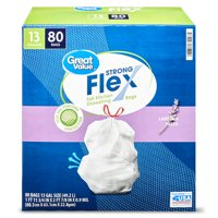 Great Value Strong Flex Tall Kitchen Drawstring Bags, 13 gallon, Lavender Fields, 80 Count