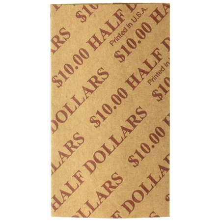 Adams Dollar Roll - PM™ Company Coin Wraps, Half Dollars, Buff, Pack Of 1000, Sturdy, single-ply Kraft stock with a pre-sealed seam. By PM Company