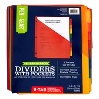 Pen + Gear 8-tab Durable Divider with Pockets, Letter Size, 24-pack
