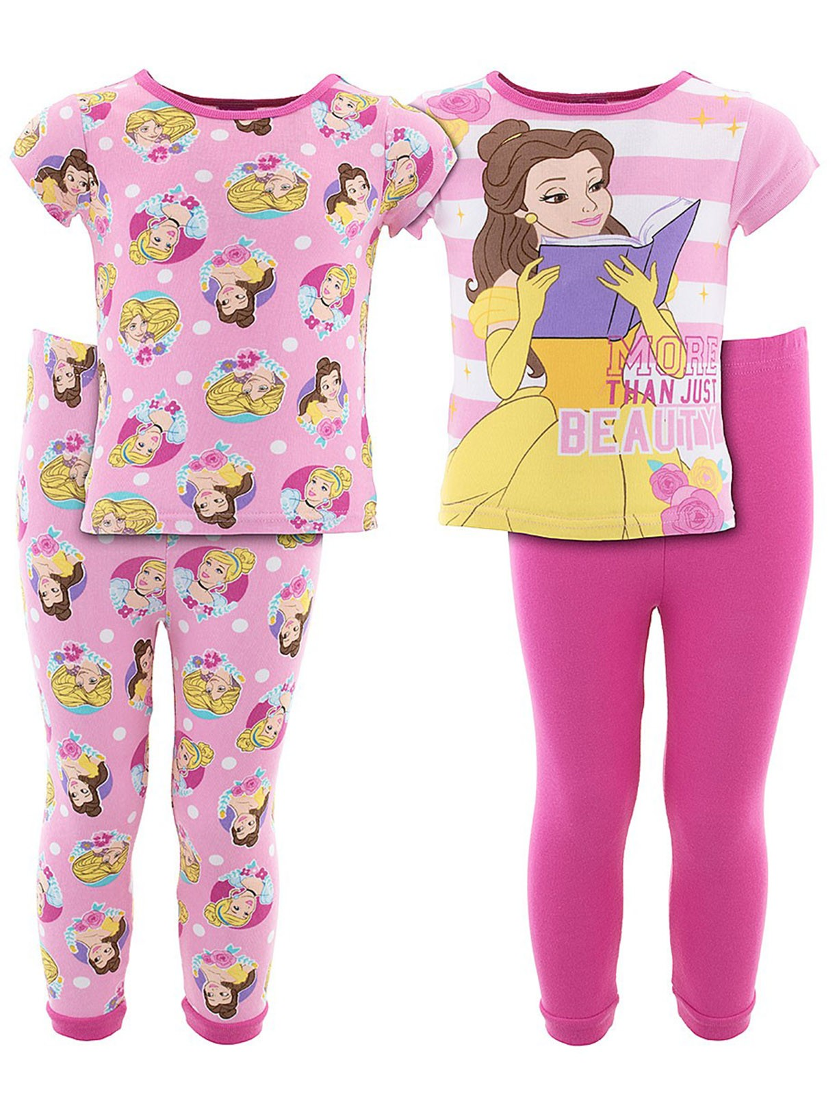 Disney Girls Princesses Cotton 2-Pack Pajamas