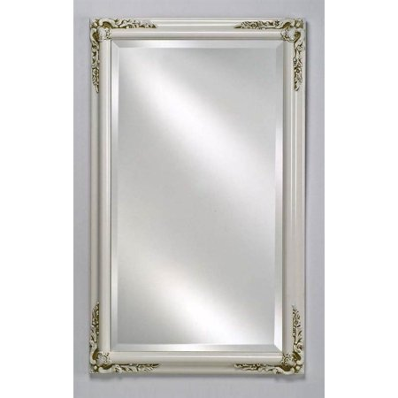 Estate decorative wall mirror in antique white finish for Small white framed mirrors