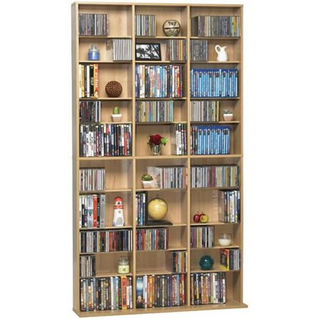 Wood Cd Display Cabinet (Atlantic 38435715 Oskar Media Tower 1080 CD or 504 DVD or Blu-Ray or Games with Wood Cabinet in)