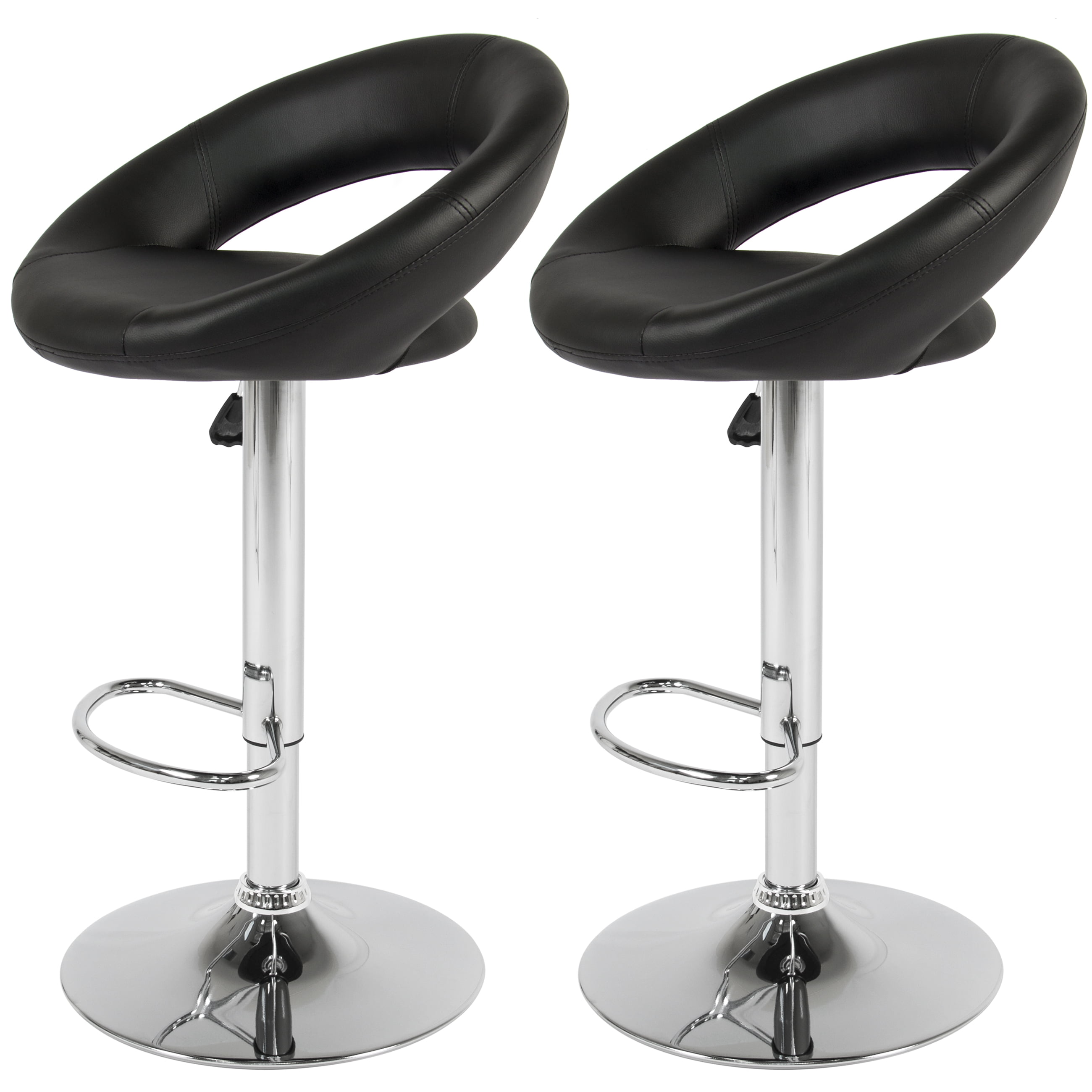 Bcp Set Of 2 Pu Leather Adjule Swivel Bar Stool Hydraulic