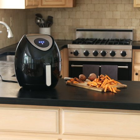 Ivation Multifunction Electric Air Fryer With Digital Led Touch Display Featuring 7 Cooking Presets Menu  Timer And Temperature Control   For Healthy Frying With Little To No Oil  1400W  Black