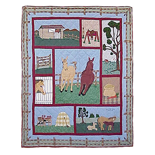 Patch Magic Horse Cotton Throw Quilt