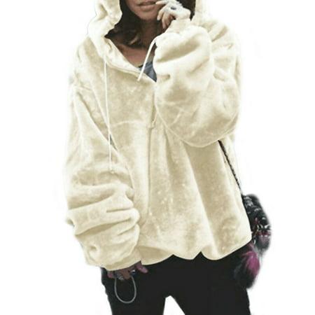 Women's Teddy Bear Faux Fur Fluffy Hooded Sweaters Zipper Pullover Plain Tops Zipper Hooded Sweater