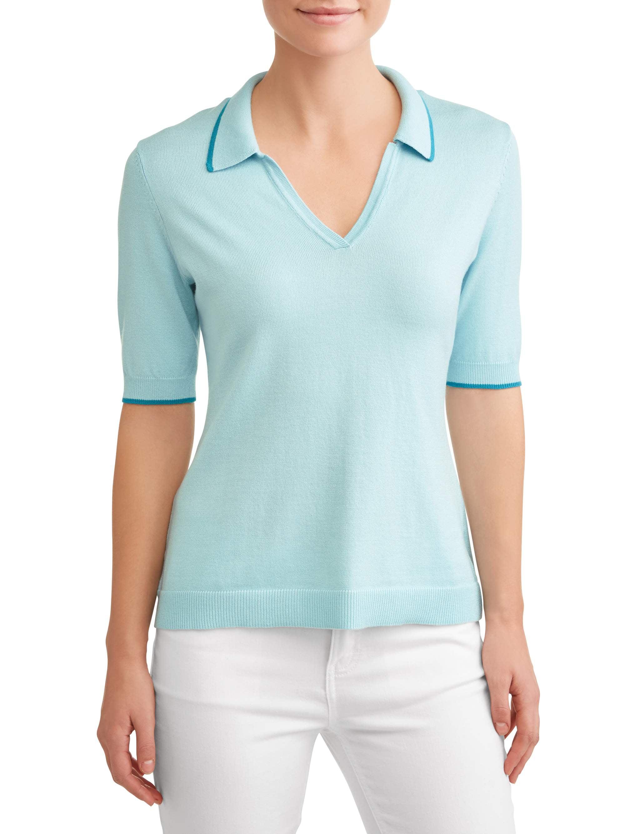f3f21787b1981d Heart N Crush - Women's Short Sleeve Polo Sweater - Walmart.com